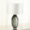 White Cylinder Table Light Modernist 1 Bulb Fabric Small Desk Lamp for Dining Room
