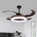 Acrylic Doughnut Semi Flush Mount Modernism Living Room LED 4-Blade Hanging Fan Lamp in Coffee with Wall/Remote Control, 42