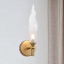 Torch Shape Wall Lighting Modern Clear Glass 1 Head Brass LED Wall Sconce Lamp for Bedside