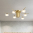 Metal Sputnik LED Flush Lighting Modernism 6 Bulbs Brass Ceiling Flush Mount with Oval Clear Glass Shade