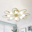 Flower Shape Bedroom Semi Flushmount Metal 8-Light Contemporary Flush Ceiling Lamp in Green