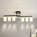 Cylinder Milk Glass Semi Flush Mount Modernist 6-Head Black Finish Close to Ceiling Light with Linear Design