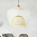 Basket Iron Mesh Down Lighting Simple 1 Head Blue/White Ceiling Pendant Lamp with Woven Design