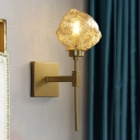 Single Light Metal Wall Sconce Traditionalist Gold/Grey Ice Block Living Room Wall Mounted Light