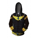 Anime Cosplay Costume Long Sleeve Drawstring Zipper Front Color Block Relaxed Fit Hoodie in Black