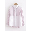 Stylish Womens Long Sleeve Lapel Collar Button Down Stripe Printed Color Block Oversize Shirt