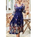 Leisure Ladie Bell Sleeve V-Neck All Over Floral Printed Maxi A-Line Dress in Blue