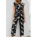 Black Fashion Short Sleeve Boat Neck All Over Geometric Bow Tied Waist Ruffled Ankle Straight Jumpsuit