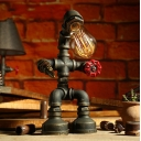 Industrial Robot Desk Lighting 1-Bulb Iron Pipe Table Lamp in Bronze with Red Valve Handle