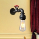 Farmhouse Piping Wall Lamp Fixture 1-Head Iron Sconce Lighting in Silver/Black/Rust with Red Valve Handle