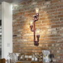 3 Bulbs Iron Sconce Lighting Fixture Antiqued Rust Branch Shape Corner Wall Mounted Lamp