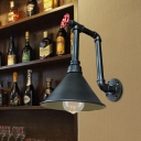 Iron Pipe and Valve Wall Sconce Vintage 1-Head Restaurant Wall Light Fixture in Black/Bronze with Cone Shade