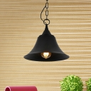 1 Head Bell Shape Hanging Light Kit Vintage Black Finish Iron Ceiling Pendant Lamp with Chain