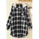 Trendy Street Long Sleeve Hooded Drawstring Flap Pocket Plaid Pattern Curved Hem Long Relaxed Shirt for Women