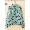 Stylish Girls Long Sleeve Lapel Collar Button Down All Over Cartoon Pattern Relaxed Fit Shirt