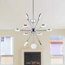Modern LED Pendant Chrome Finish Sputnik Ceiling Chandelier with Acrylic Shade in Warm/White Light