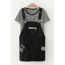 Stylish Girls Sleeveless Number 88 Embroidered Zipper Pocket Buckle Belted Relaxed Suspender Romper