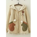 Casual Womens Long Sleeve Zip Up Hooded Pom Pom Drawstring Bear Glove Embroidered Corduroy Sherpa Liner Relaxed Jacket