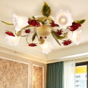 Spiral Living Room Ceiling Light Country Style Metal 3/5/8 Heads Coffee Semi Flush Mount Lighting with Rose Decor