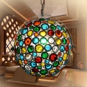 White Globe Ceiling Lamp Traditional Metal 1 Head Pendant Light Fixture with Adjustable Chain