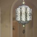 Turkish Carved Chandelier Lighting Fixture 4 Heads Metal Suspension Lamp in Black for Cafe