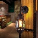 Lantern Metal Wall Lamp Sconce Art Deco 1 Head Restaurant Wall Light Fixture in Black