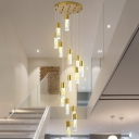 Gold Cylinder Drop Lamp Minimalism 15/20 Bulbs Acrylic LED Multi Light Pendant for Living Room