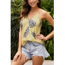 Gorgeous Ladies' Sleeveless Surplice Neck Leaf Printed Relaxed Fit Wrap Cami Top