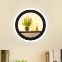 White 1-Head Sconce Lamp Simple Metal Round LED Plant Wall Mount Lighting for Living Room