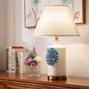 Fabric Cone/Bell Table Lighting Pastoral 1 Head Living Room Nightstand Light in Sky Blue/Purple/Pink, 19.5