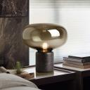 Oblong Nightstand Lamp Modernist Amber Glass 1 Head Task Lighting with Tube Marble Base, 8
