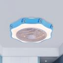 LED Floral Ceiling Fan Lighting Kids White/Blue/Pink Finish Acrylic Semi Flush Mount Lamp for Bedroom, 19.5