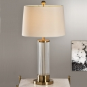 Contemporary 1 Bulb Task Lighting Gold Barrel Night Table Lamp with Fabric Shade