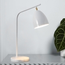Bell Metal Task Light Contemporary 1 Bulb White Night Table Lamp with Curved Arm