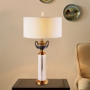 Cylindrical Table Lamp Modern Clear Crystal 1 Bulb Desk Light in Gold for Living Room