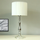 Fabric Barrel Nightstand Lamp Modern 1 Bulb Reading Book Light in Chrome for Study