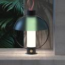 Metal Domed Task Light Modernist 1 Bulb Green Desk Lamp with Cylinder White Glass Shade