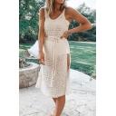 Gorgeous Ladies' Beige Sleeveless Bow Tie Waist Hollow Out Semi-Sheet High Cut Side Shift Tank Dress