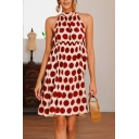 Amazing Women's Sleeveless Halter Polka Dot Printed Mini A-Line Dress