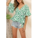 Pretty Girls' Bell Sleeve Surplice Neck All Over Leaf Flower Pattern Tied Waist Fitted Blouse Top