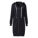 Leisure Simple Plain Zippered Hooded Longline Long Sleeve Coat
