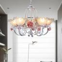 Country Style Rose Chandelier Lamp 5/7 Lights Metal Hanging Pendant Light in White/Green for Restaurant
