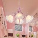 Scalloped Living Room Pendant Chandelier Pastoral Metal 4/6/9 Heads Pink LED Hanging Ceiling Light