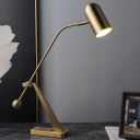 1 Head Study Task Lighting Modern Brass Reading Book Light with Cylinder Metal Shade