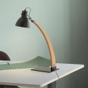 Metal Dome Desk Light Modern 1 Head Black/White Night Table Lamp with Curved Beige Wood Arm