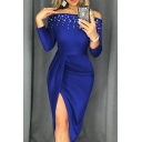 Glamorous Ladies' Plain Long Sleeve Off the Shoulder Pearl Decoration Split Long Pleated Bodycon Evening Dress