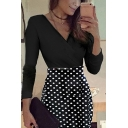 Special Occasion Women's Long Sleeve Surplice Neck Polka Dot Floral Printed Midi Bodycon Dress