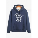 Fashionable Boys' Long Sleeve Drawstring Letter TEAR DOWN THE Pouch Pocket Fleece Liner Thick Relaxed Hoodie