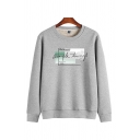 Popular Simple Long Sleeve Crew Neck Letter Printed Sherpa Liner Relaxed Fit Sweatshirt Top for Men