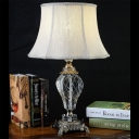 1 Bulb Living Room Desk Light Modern Grey Nightstand Lamp with Bell Fabric Shade